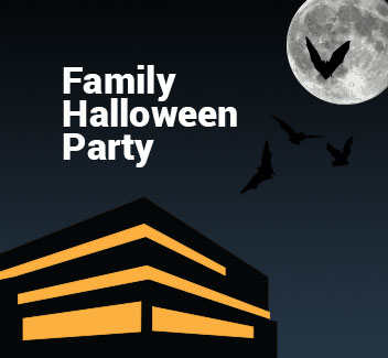 Family Halloween Party graphic. Museum of Natural History at Night with bats and a full moon.