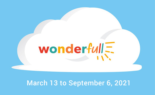 Logo for the new exhibit WonderFull. Blue background with a white cloud and the title.